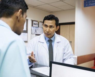 Hospital administrators having a conversation.