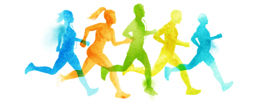 Illustration of people running in a race