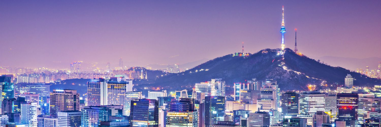 Seoul in South Korea at night.