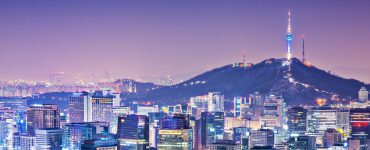 Seoul in South Korea at night.