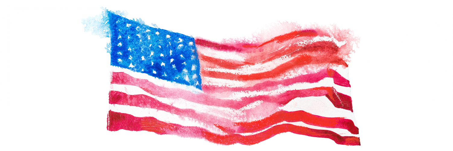 illustrated, watercolor American flag waving