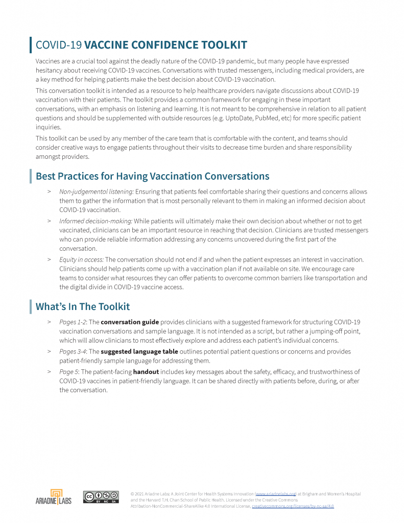 COVID-19 Vaccine Confidence Toolkit cover sheet